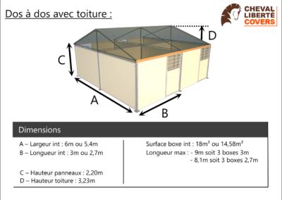 Boxe olympic dos à dos avec toiture - Cheval Liberté Covers