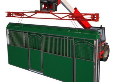 Vue 3D d'un tracteur de manutention qui ouvre un Starbox - Cheval Liberté Covers